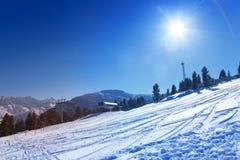 Ski resort view in Bansko, Bulgaria Royalty Free Stock Photography