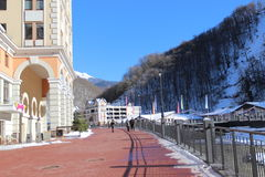 Ski resort village, Rosa Khutor. Royalty Free Stock Photos