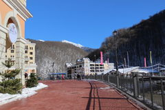 Ski resort village, Rosa Khutor. Stock Photo