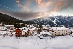 Ski Resort von Madonna di Campiglio morgens, italienische Alpen Lizenzfreie Stockfotografie