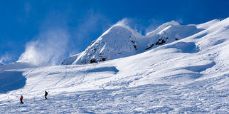 Ski resort on a windy day. Ski resort. view on the slope Stock Image