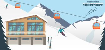Ski resort. Winter mountain landscape with lodge, ski lift, skier, racing down the slope. Winter sports vacation banner. Vector il stock image