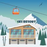 Ski resort. Winter mountain landscape with lodge, ski lift. Winter sports vacation banner. Vector illustration. royalty free stock image