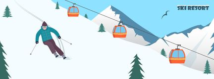 Ski resort. Winter mountain landscape with ski lift and skier, racing down the slope. Winter sports vacation banner. Vector illust royalty free stock images