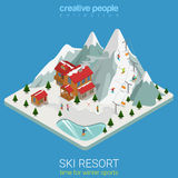 Ski resort winter mountain sport flat isometric vector snowboard Stock Images