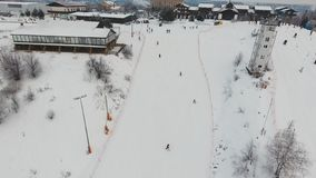 Ski resort in the winter season. Aerial view. stock photography