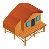 Ski resort wood cabin icon, isometric style. Ski resort wood cabin icon. Isometric of ski resort wood cabin vector icon for web design isolated on white royalty free illustration