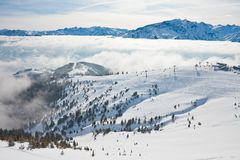 Ski resort Zell am See. Mountains under snow. Ski resort Zell am See. Austria Stock Photography