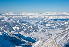 Ski resort  Zell am See, Austria. Ski resort and the mountains of Zell am See, Austrian Alps at winter Stock Photo