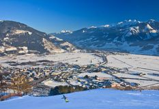 Ski resort Zell am See, Austria. Ski resort Zell am See, village Schuttdorf. Austria. Alps at winter Royalty Free Stock Images