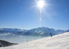 Ski resort Zell am See, Austrian. Alps at winter Royalty Free Stock Photos