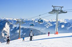 Ski resort Zell am See, Austrian. Alps at winter Royalty Free Stock Photo