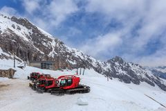 Ski resort at Zugspitze. Top of Germany Royalty Free Stock Photo