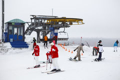 Ski resorts Sorochany with resting people Royalty Free Stock Images