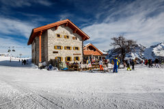 Ski Restaurant in Madonna di Campiglio Ski Resort, Italian Alps Royalty Free Stock Photo