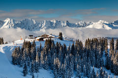Ski Restaurant on the Mountain Peak near Megeve in French Alps Royalty Free Stock Image