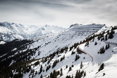 Ski road in Alps Stock Images
