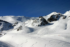 Ski routes. View at ski routes at the begining of a day Royalty Free Stock Photos