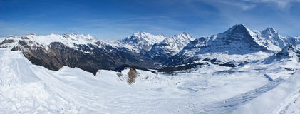 Ski run in alps. The most amazing highland landscape with a ski run, alps, switzerland Stock Images