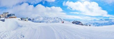 Ski run in Alps, Obertraun, Salzkammergut, Austria. Salzkammergut is perfect region for winter sports activity, Alps boasts best pistes, numerous routes and royalty free stock image