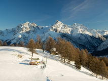 Ski run in front of the Sesvenna mountain group Royalty Free Stock Images