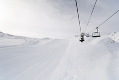 Ski run and lift in Paradiski area, France Stock Photo