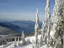 Ski run and ocean. Ski run and the pacific ocean at cypress mountain - site of 2010 olympics Stock Photography