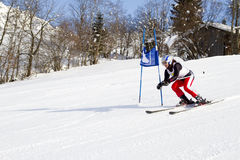 Ski runner in a slalom race Stock Images
