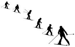 Ski school collection of  skiers silhouettes Stock Photo