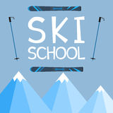 Ski school logo, emblems, design elements. Winter club logotype Royalty Free Stock Photography