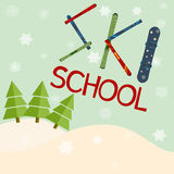 Ski school logo, emblems, design elements. Winter club logotype Royalty Free Stock Images