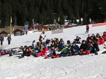Ski school students break for lunch Stock Images