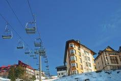 Ski Season. Ski resorts with tram chairs - wide angle royalty free stock photos