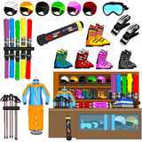 Ski shop and equipment tools vector Stock Images