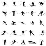 Ski silhouette set Royalty Free Stock Image