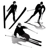 Ski silhouettes Royalty Free Stock Images