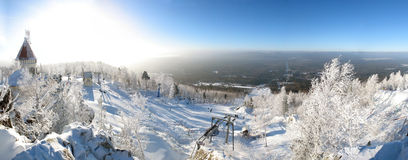 Ski site. Panoramic winter landscape with nice winter sunset Stock Photo