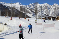 Ski at the ski resort Rosa Khutor Stock Image