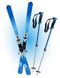 Ski and ski sticks Royalty Free Stock Photo
