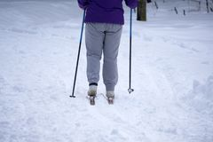 Ski, skier, winter - lovely girl has a fun on ski. Vertical view.  royalty free stock photos