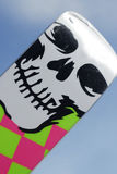 Ski with skul. Sock mountain skis with a skull in the sky Royalty Free Stock Images