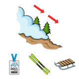 Ski, sled, lifeguard badge, badge avalanche. Ski resort set collection icons in cartoon style vector symbol stock. Illustration Royalty Free Stock Photo