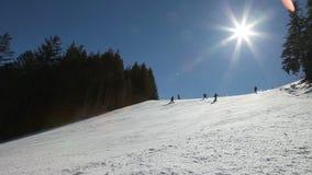 Ski slop stock video footage