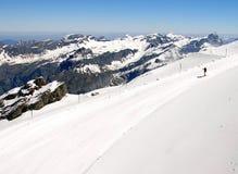 Ski slope. Landscape scenery of ski slope at Titlis skiing mountain resort, Switzerland royalty free stock photography