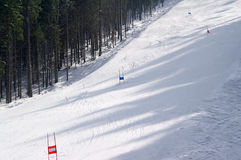 Ski slope. Slalom ski slope. Winter resort Royalty Free Stock Photos