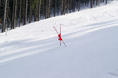 Ski slope. Slalom ski slope. Winter resort Stock Photo