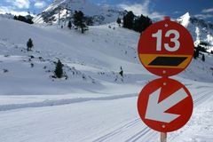 Ski slope. A red ski slope with unlucky number 13 Stock Photography