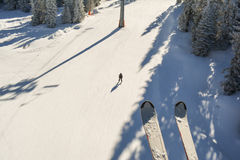 Ski slope from above. View from ski lift royalty free stock image