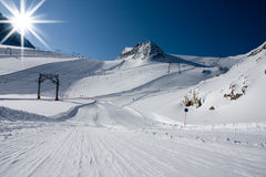 Ski slope in alps mountains Stock Photo