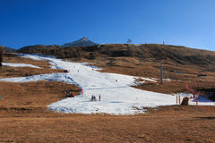 Ski slope with artificial snow Royalty Free Stock Photo